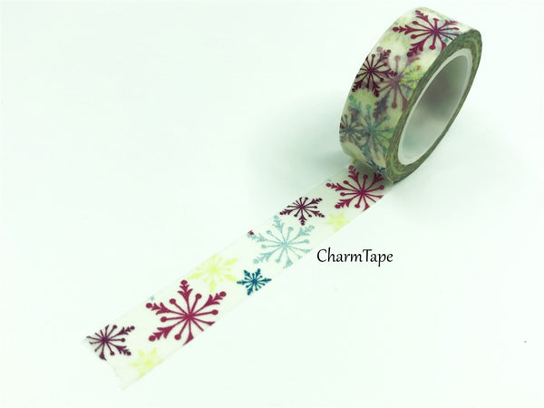 Colorful snowflake Washi Tape 15 mm x 10m WT687 - CharmTape - 2