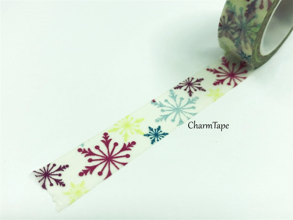 Colorful snowflake Washi Tape 15 mm x 10m WT687 - CharmTape - 1