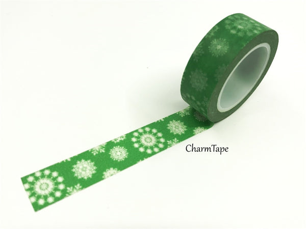 SALE Christmas snowflake pattern Washi tape 15mm x 10m WT454 - CharmTape - 1