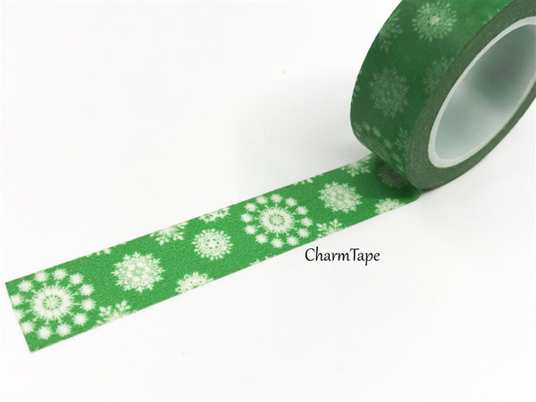 SALE Christmas snowflake pattern Washi tape 15mm x 10m WT454 - CharmTape - 2