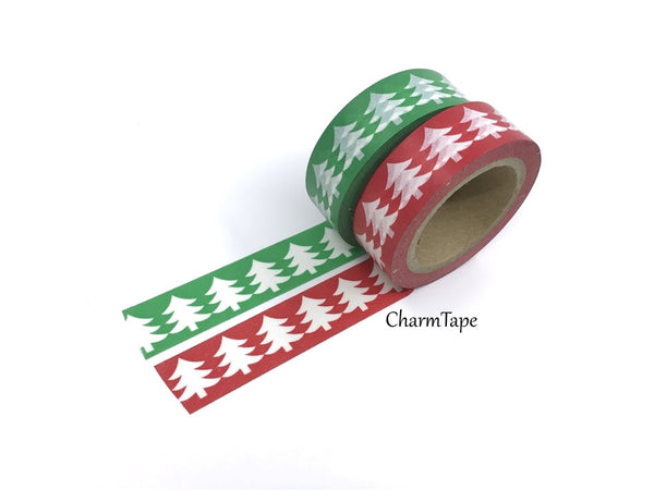 Washi Green & Red tape with white Tree WT516 - CharmTape - 2