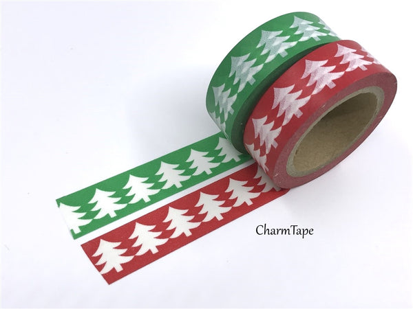 Washi Green & Red tape with white Tree WT516 - CharmTape - 1