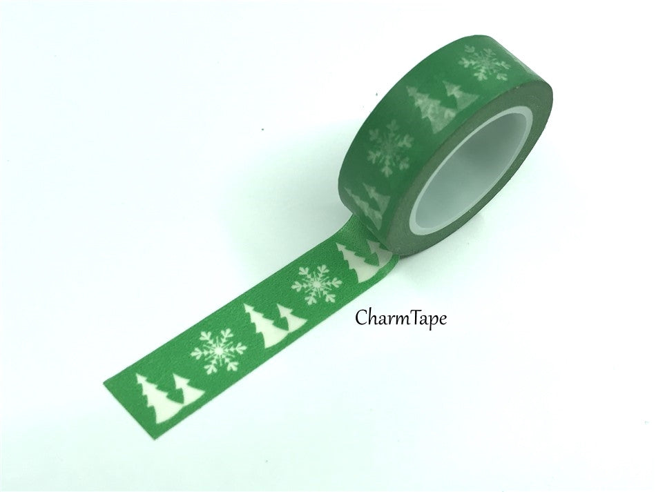 SALE Festive Washi tape - Christmas tree & snowflake 15mm x 10m WT454 - CharmTape - 1