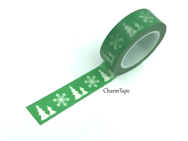 SALE Festive Washi tape - Christmas tree & snowflake 15mm x 10m WT454 - CharmTape - 2