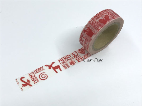 Washi Tape Full Roll Festive red print 15mm WT247 - CharmTape - 2