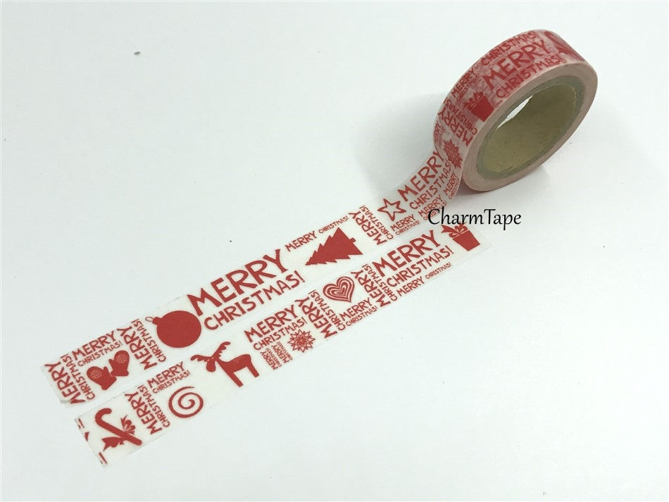 Washi Tape Full Roll Festive red print 15mm WT247 - CharmTape - 1