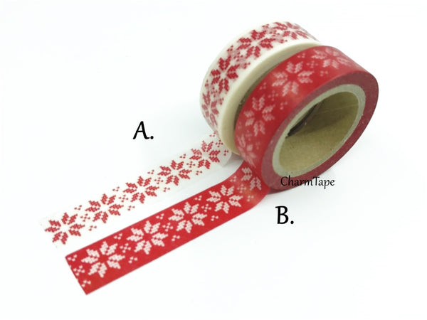 Festive Snow flakes Washi Tape 15mm x 10m WT246 - CharmTape - 1