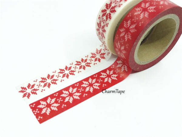 Festive Snow flakes Washi Tape 15mm x 10m WT246 - CharmTape - 5