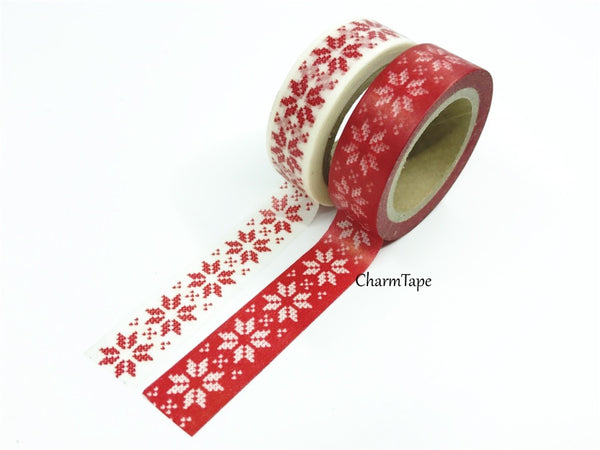 Festive Snow flakes Washi Tape 15mm x 10m WT246 - CharmTape - 2