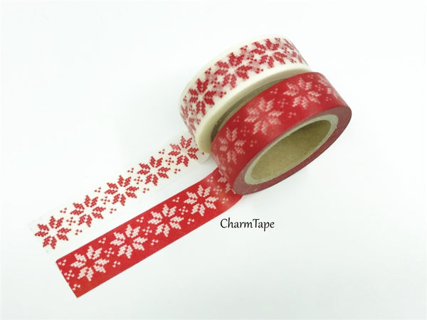 Festive Snow flakes Washi Tape 15mm x 10m WT246 - CharmTape - 3