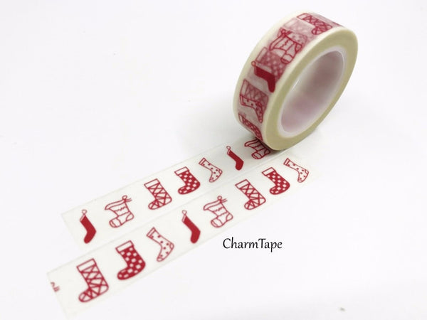 Red festive Stocking Washi Tape 15mm x 10m WT450 - CharmTape - 2