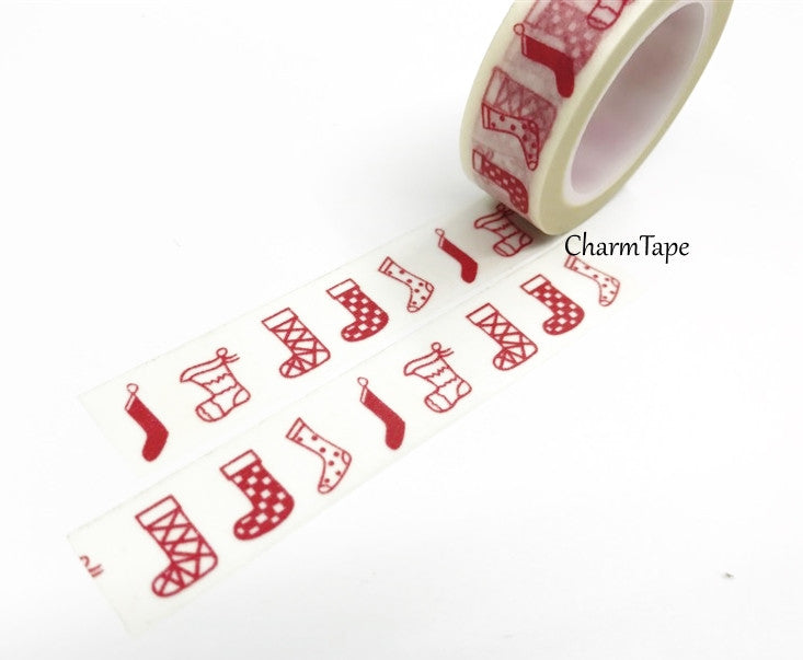 Red festive Stocking Washi Tape 15mm x 10m WT450 - CharmTape - 1
