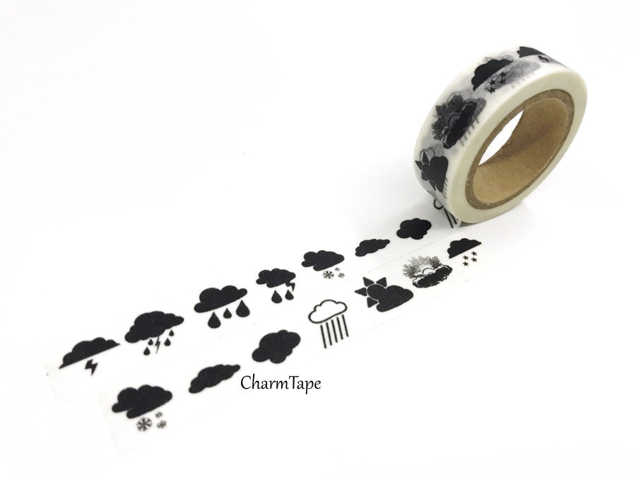 Black Rains Storm Washi tape 15mm x 10m WT421 - CharmTape - 1