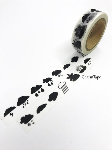 Black Rains Storm Washi tape 15mm x 10m WT421 - CharmTape - 3
