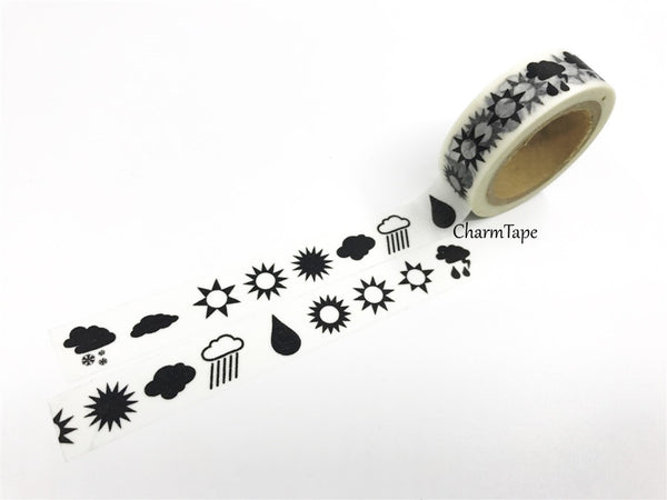 Washi tape - Sun & Rain - 15mm x 11 yards  WT423 - CharmTape - 2