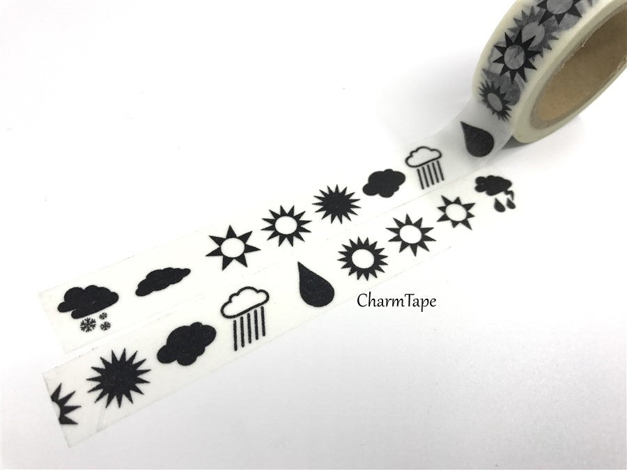 Washi tape - Sun & Rain - 15mm x 11 yards  WT423 - CharmTape - 1