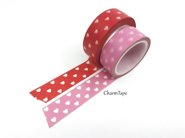 Pink & Red Washi Tape with white hearts 15mm WT260 - CharmTape - 1