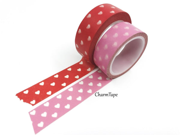 Pink & Red Washi Tape with white hearts 15mm WT260 - CharmTape - 2