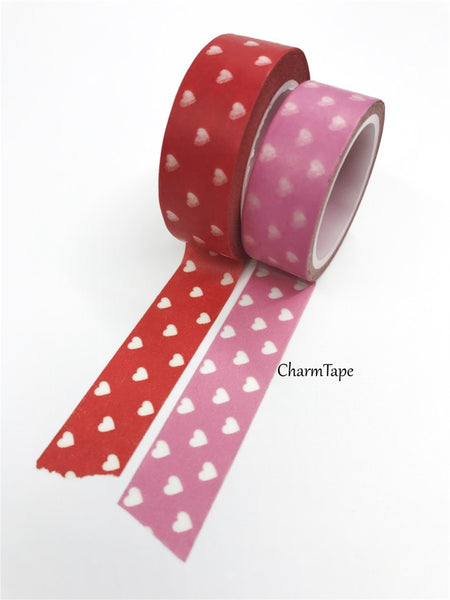 Pink & Red Washi Tape with white hearts 15mm WT260 - CharmTape - 3