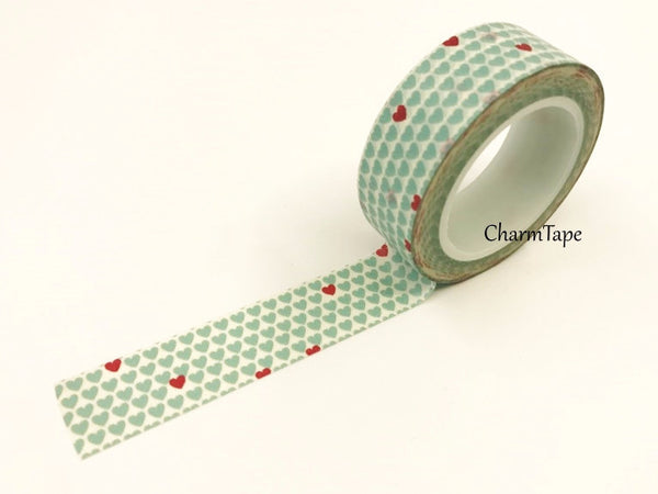 Aqua & Red Hearts Washi Tape 15mm x 10m WT68 - CharmTape - 1