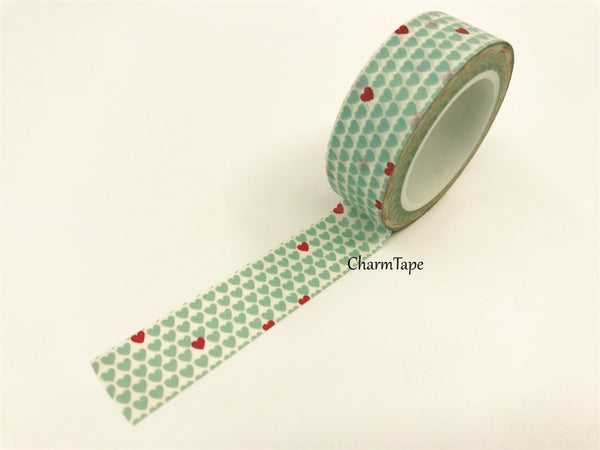Aqua & Red Hearts Washi Tape 15mm x 10m WT68 - CharmTape - 2