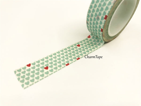 Aqua & Red Hearts Washi Tape 15mm x 10m WT68