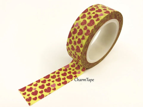 Maroon Heart on yellow Washi Tape 15mm x 10m WT8 - CharmTape - 1