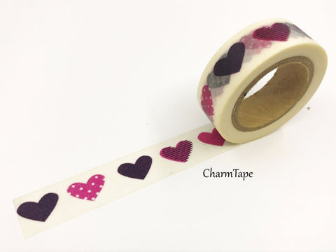 Hearts Washi Tape 15mm x 10m WT11 - CharmTape - 1