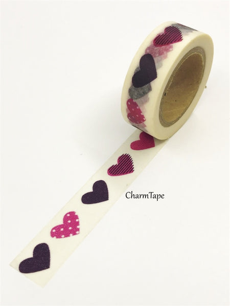 Hearts Washi Tape 15mm x 10m WT11 - CharmTape - 2
