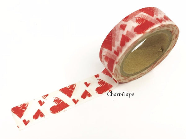 Red Hearts Washi Tape 15mm x 10m WT391 - CharmTape - 1