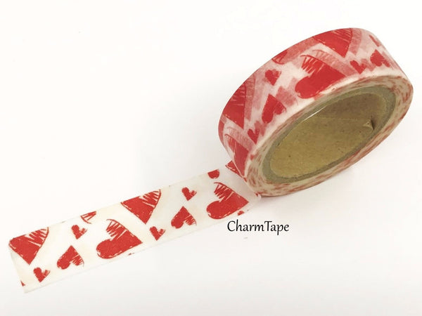 Red Hearts Washi Tape 15mm x 10m WT391 - CharmTape - 2