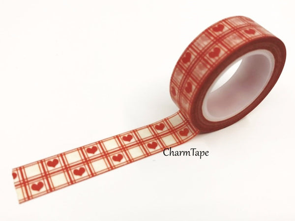 Washi Tape Red heart 15mm x 10 meters WT74