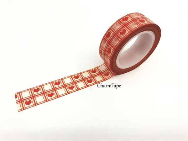 Red Heart & check Washi Tape 15mm x 10m WT74 - CharmTape - 3