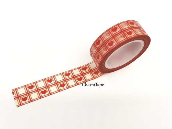 Red Heart & check Washi Tape 15mm x 10m WT74 - CharmTape - 1