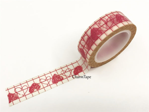 Pink Hearts Washi Tape 15mm x 10m WT328 - CharmTape - 2