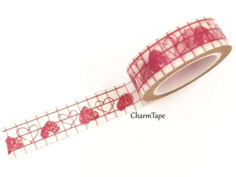 Pink Hearts Washi Tape 15mm x 10m WT328 - CharmTape - 1