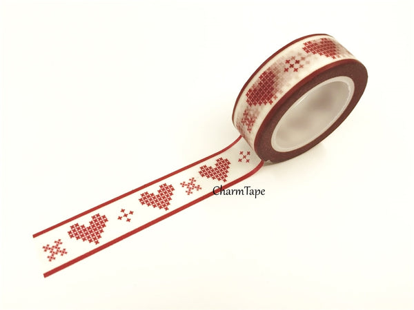Washi Tape Red heart stitch 15mm WT441 - CharmTape - 2