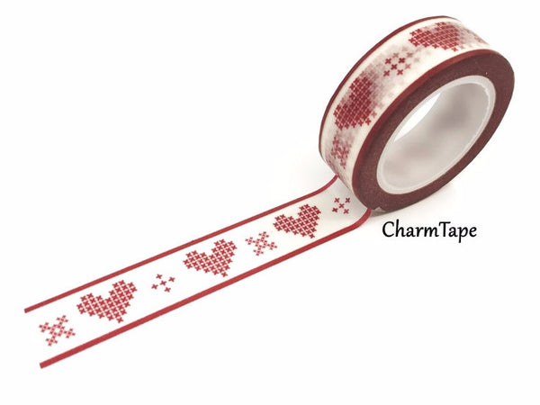 Washi Tape Red heart stitch 15mm WT441 - CharmTape - 1