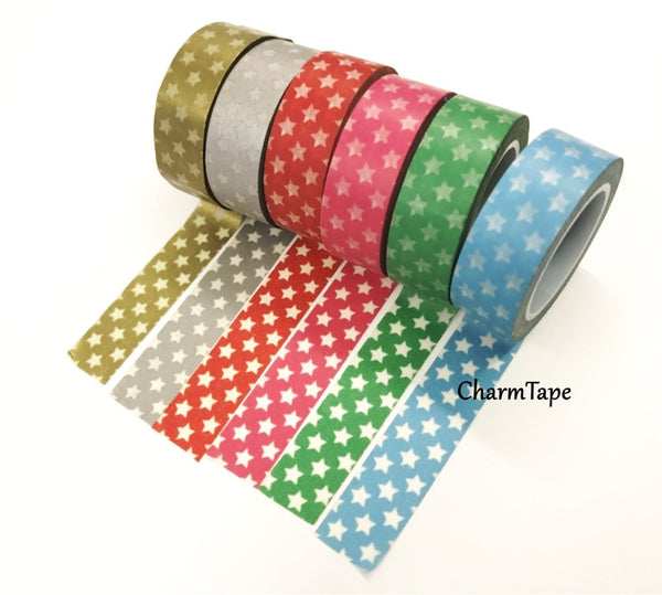 Holiday mini Stars on Washi Tape 15mm x 10m WT204 - CharmTape - 2