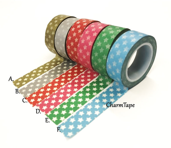 Holiday mini Stars on Washi Tape 15mm x 10m WT204 - CharmTape - 1