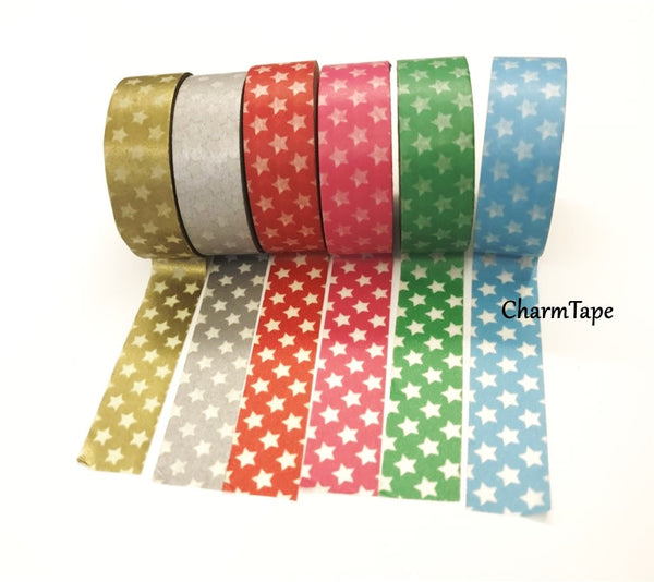 Holiday mini Stars on Washi Tape 15mm x 10m WT204 - CharmTape - 4