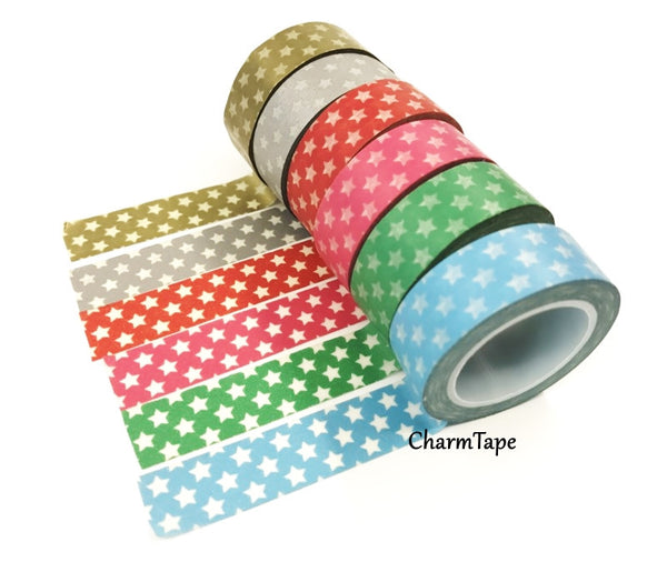 Holiday mini Stars on Washi Tape 15mm x 10m WT204 - CharmTape - 5