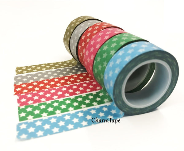 Holiday mini Stars on Washi Tape 15mm x 10m WT204 - CharmTape - 6