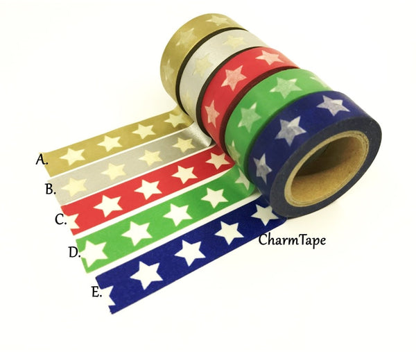 White Stars Washi Tape WT209 - CharmTape - 1
