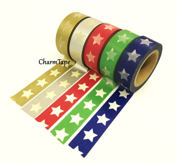 White Stars Washi Tape WT209 - CharmTape - 2