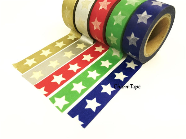 White Stars Washi Tape WT209 - CharmTape - 3