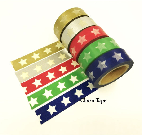 White Stars Washi Tape WT209 - CharmTape - 4