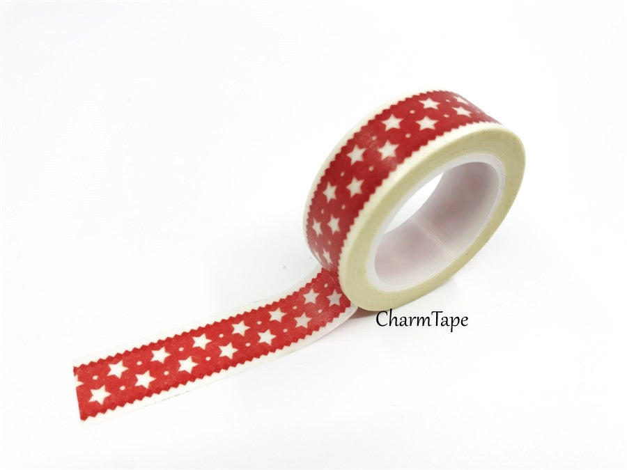 Festive Red Stars Washi Tape 15mm x 10 metres WT587 - CharmTape