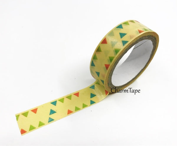 Triangles & Patchwork Washi Tape 15mm 2 Rolls set WT976 - CharmTape - 3