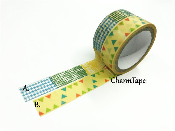 Triangles & Patchwork Washi Tape 15mm 2 Rolls set WT976 - CharmTape - 1